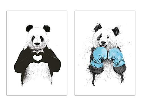 2 Art Posters 30 x 40 cm Balazs Solti Pandas from Wall Editions