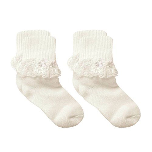 Country Kids Baby Girls' Cotton Turn Cuff Socks with Dressy Lace Ruffles, Pack of 2, Fits 3-12 months (shoe size 4-1.5), Ivory -