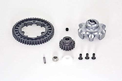 B01I54GJFC Traxxas X-Maxx 4X4 Upgrade Parts Aluminum Gear Adapter + Steel Spur Gear 53T + Motor Gear 18T (for X-Maxx 6S Only) - 1 Set Gray Silver 41RddaB1cNL