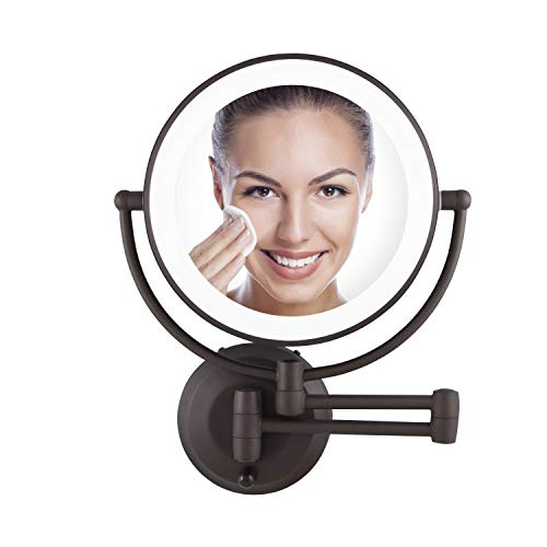 Zadro 10X/1X Magnification Cordless LED Lighted Dual Sided Wall Mirror, 7-1/2 Inch, -