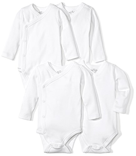 Moon and Back Baby Set of 4 Organic Long-Sleeve Side-Snap Bodysuits, White Cloud, 0-3 Months -