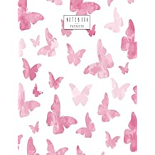 Notebook: Pink butterfly cover and Dot Graph Line Sketch pages, Extra large (8.5 x 11) inches, 110 pages, White paper, Sketch, Draw and Paint