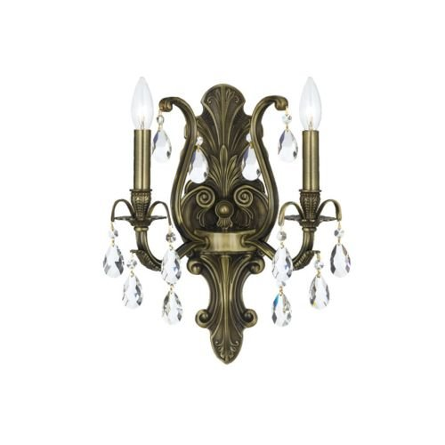 Crystorama 5563-AB-CL-S Crystal Accents Two Light Sconces from Dawson collection in Brass-Antiquefinish, 7.50 inches (Accent Dawson)