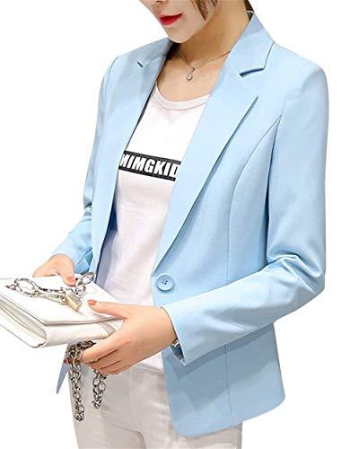 Eleganti Primaverile Blazer Con Lunga Tailleur Giacca Manica Classica Donna Autunno Tasche Moda Giovane Button Da Fit Giaccone Blau Slim Colori Himmel Bavero Solidi Business Cappotto wzZqqHtxTa