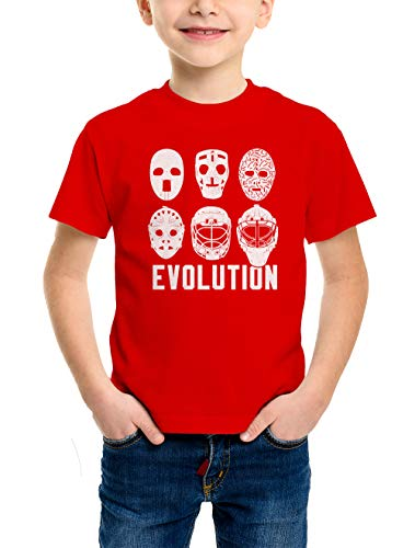 HAASE UNLIMITED Evolution of Hockey Masks Youth T-Shirt (Red, X-Small)