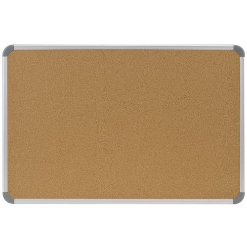 Ghent 48''x96'' Aluminum Radial Edge Euro-Style Frame Natural Cork Bulletin Board, Made in the USA by Ghent
