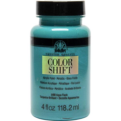 FolkArt Color Shift Acrylic Paint in Assorted Colors (4 oz), 5190 Aqua - Paint Blue Metallic
