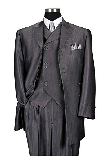 Milano Moda Herring Bone Stripe Fashion Suit with Vest & Pants 5264 Grey-42R