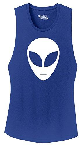Ladies Festival Tank Top Alien Face Shirt Hipster Believe UFO Nerd Tee Deep Royal (Deep Face Tee)