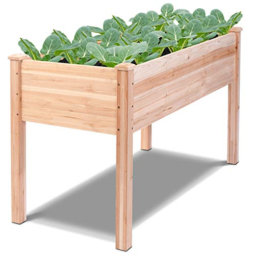 Giantex Raised Garden Bed Kit Elevated Planter Box for Vegetables Fruits Herb Grow, Heavy Duty Natural Cedar Wood Frame Gardening Planting Bed for Deck, Patio or Yard Gardenin, 49