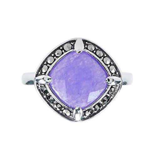 Aura 925 Sterling Silver Ring Lavender Quartz, Marcasite #7 ()