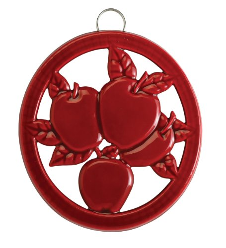 - Old Dutch 3091SR Two-Tone Round Apple Red Rooster Cast Iron Trivet, 7 inch diameter,