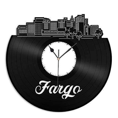 VinylShopUS - Fargo ND Vinyl Wall Clock City Skyline Cityscape Record Souvenir Unique Gift for Friends Men Women | Anniversary Home Room Office Decoration -