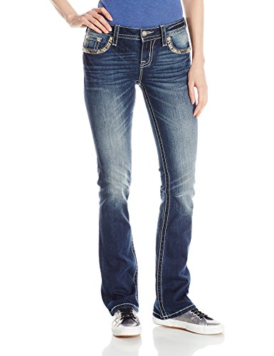 Embroidered Slim Cut Jeans (Miss Me Women's Embroidered Back Yoke Slim Boot Cut Jean, MK, 27)