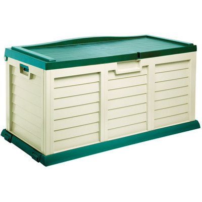 103 Gallon Deck Storage Box with Seat Color: Beige / Green by Starplast
