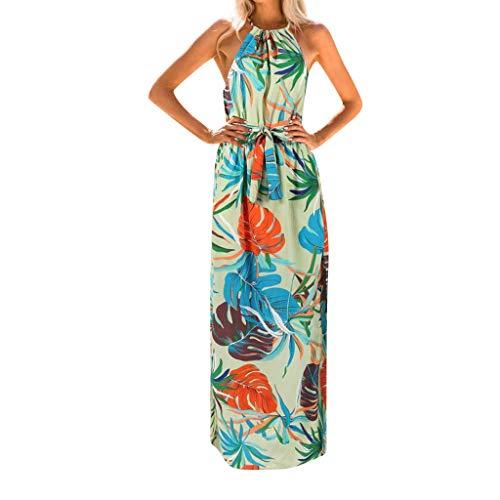 GDJGTA Dress Womens Sleeveless Summer Print Boho Long Maxi Evening Party Beach Floral Dress