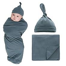 XMWEALTHY Newborn Baby Swaddle Blankets Sets 2-Pack Infant Boy Girls Receiving Blankets Sacks Beanie Blankets Wraps Baby Registry Gifts 0-6 M Dark Green