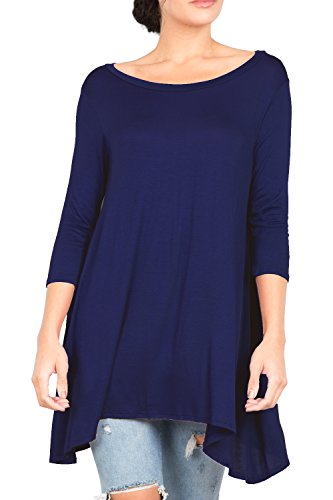T-shirt Relaxed Love Crew (T2411 3/4 Sleeve Round Neck Relaxed A-Line Tunic T Shirt Top Navy S)