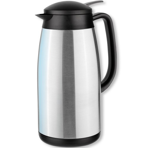 Isosteel Tableline VA-9339K Vacuum-Insulated Thermos Can 1.5 L 18/8 Brushed Stainless Steel with Quickstop Single-Hand Pouring-System ()