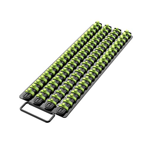 Olsa Tools | Portable Socket Organizer Tray | Black Rails with Green Clips | Holds 80 Sockets | Premium Quality Socket Holder