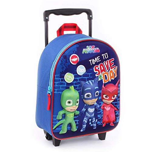 PJ Masks 3D Effect Small Backpack Travel Trolley Bag with Wheels