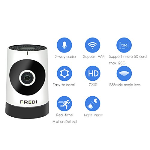 FREDI Baby Monitor Wireless WIFI IP Surveillance Camera 720P HD Security Camera With Two-Way Talking,Infrared Night Vision,P2P Wps Ir-Cut Nanny Camera Motion Detection Loop recording(Without SD Card)