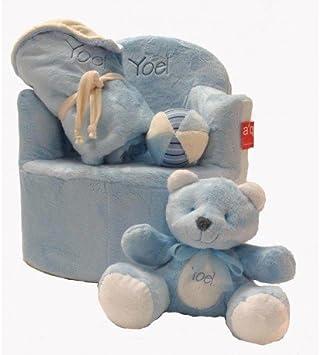 Set bebé personalizado (sillón + manta + osito + pelota) (Azul ...