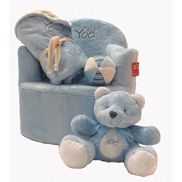 Set bebé personalizado (sillón + manta + osito + pelota) (Azul)