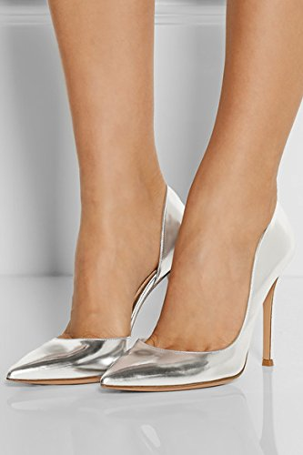 Aiguille 10cm A Edefs Femme Chaussures Talon Haut Escarpins Bout Pointu Enfiler Argent RqfWp7HwS