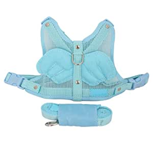 Adjustable Angel Wing Net Pet Dog Cat Safety Harness Leash With Lead Leash Blue S Small Size