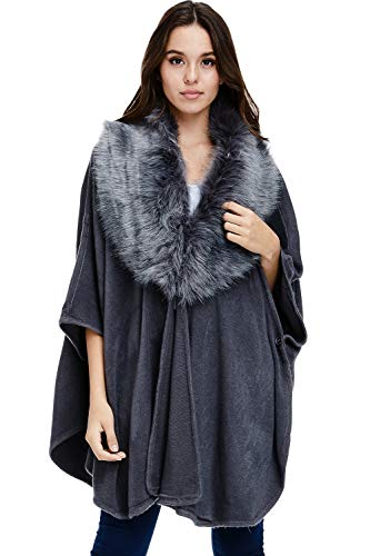 Alexander + David Womens Faux Fur Trim Poncho - Oversized Sweater Fall Winter Cape (Grey, One ()