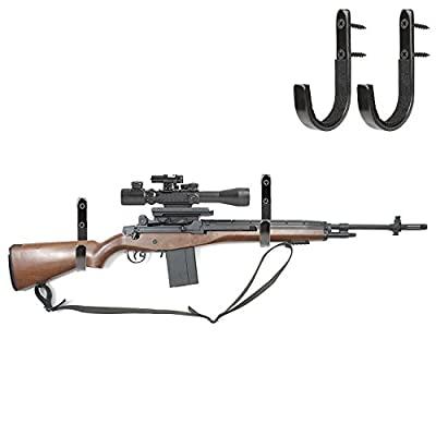 Gun Rack Shotgun Hooks Rifle Hangers Archery Bow Felt Lined Wall Mount Storage (2 Pack)