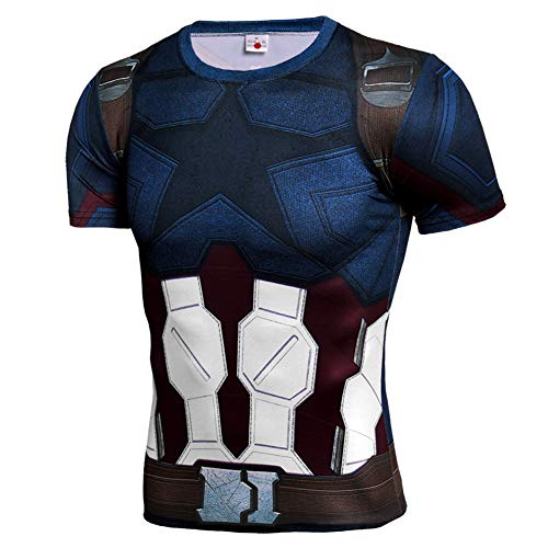 Dri-fit Short Sleeve Captain America Costume Shirt Cool Mens Gym Tee 4XL
