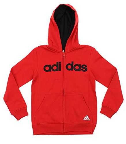 Adidas Big Boys Youth Uptempo Full Zip Fleece Hoodie, Color Options (Large (14/16), Red Black)