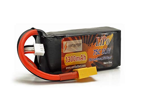 11.1V 1300mAh 3S Cell 75C-150C LiPo Battery Pack w/ XT60 XT-60 Connector Plug + Warranty (Racing Drone FPV Quadcopter Race Pack, Venom Barbwire 2 Racing ()