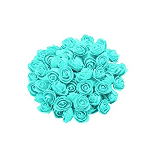 Artificial Flowers 100pcs Real Looking Dark Red Fake Roses for DIY Wedding Bouquets Centerpieces Arrangements Party Baby Shower Home Decorations (B, 1 Inch) 85