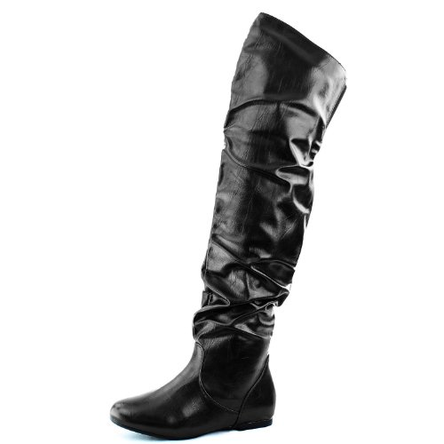 Dailyshoes Femmes Fashion-hi Sur Le Genou Cuisse Haut Plat Slouchly Shaft Bas Bottes À Talons Classic Black