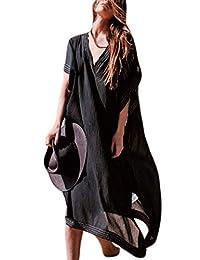 Bsubseach Mujer Ropa de Playa Vestido de Cáftan Turcos Traje de baño Cubrir Bikini Camisola y Pareos