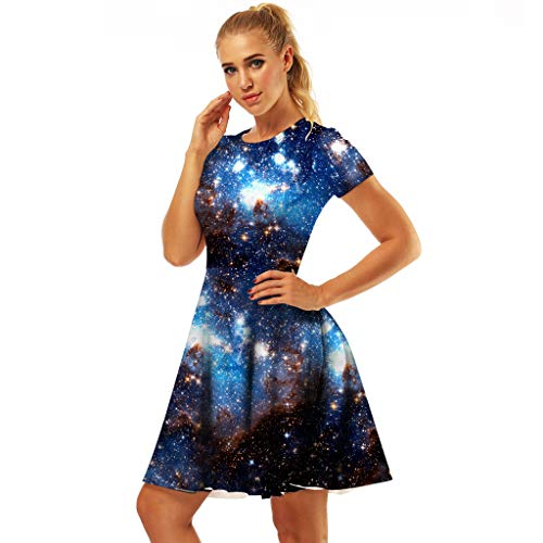 Dress for Mother and Baby Girl Short Sleeve Digital Print Pleated Dresses Toponly]()