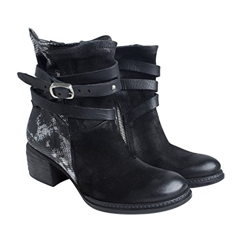 A.S.98 Damen Stiefelette 638206 CS von Farbe Schwarz Neue Kollektion Boots Outdoor Freizeit Metallic Leder Schuhe