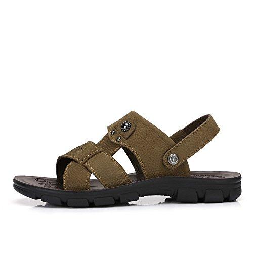 Camel Hombres Casual Sandalias De Cuero Antideslizante Slip On Summer Beach Wear Flip Flop Caqui