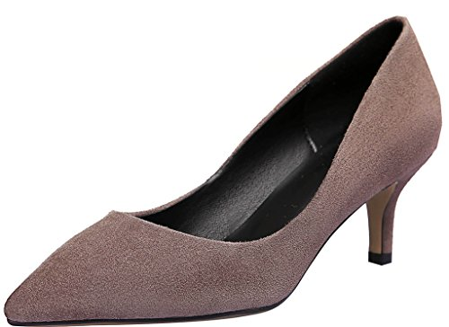 Calaier Womens Jtaaf Pointed-Toe 6CM Stiletto Slip-on Pumps Shoes Brown