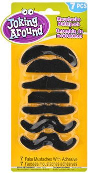 JOKING AROUND SELF-ADHESIVE ARTIFICIAL MUSTACHES 7CT (Homemade Halloween Costumes For Men)