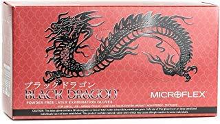 Black Dragon Latex Body Easy Grip Piercing & Tattoo Artists Large Gloves