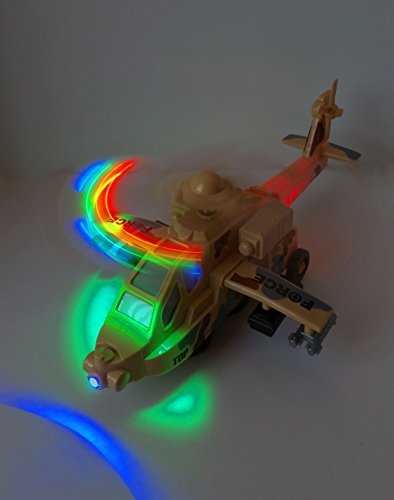 [Best Kids & Fathers Day Toys Gifts Sky High Force Military Helicopter Bump and Go Electric Flashing Blinking Lights Loud Copper Sound (12