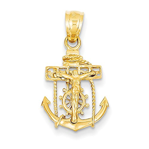 14k Yellow Gold Mariners Cross Pendant C809 (Cross Mariners 14k Yellow Gold)