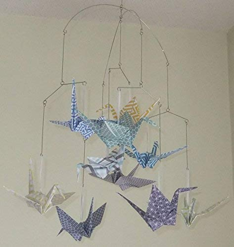 Amazon Patterned Whimsy Origami Crane Mobile Handmade