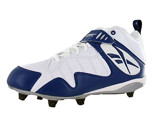 Reebok Pro All Out One MID D Mens Football Shoe White/Navy Blue DX097O1