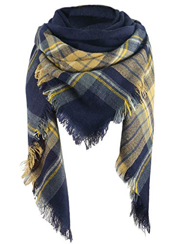 Zando Women Plaid Blanket Winter Scarf Warm Soft Fashion Scarves Oversize Wrap Shawl Scarfs for Women Yellow Navy ()
