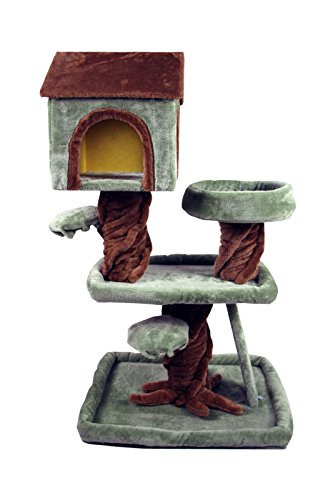 39-HIDING-CAT-TREE-Special-Robin-Hood-Tree-House-Furniture-Playhouse-Pet-Bed-Kitten-Toy-Cat-Tower-Condo-for-Cats-Kittens-Brown-and-Green-by-HIDING